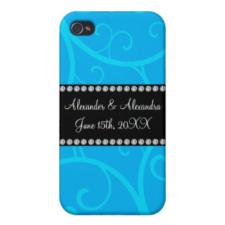 Wedding favors blue swirls covers for iPhone 4