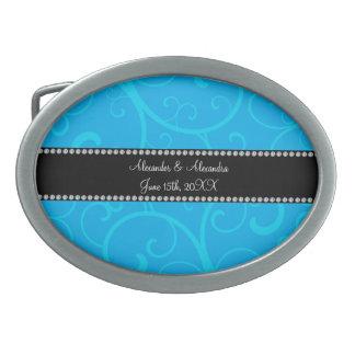 Wedding favors blue swirls oval belt buckle