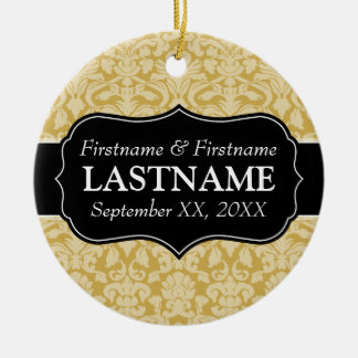 Wedding Favors - Damask Gold and Black Christmas Ornament