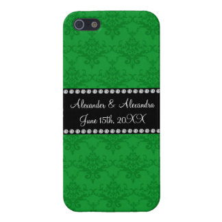 Wedding favors Green damask Covers For iPhone 5