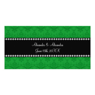 Wedding favors Green damask Photo Cards