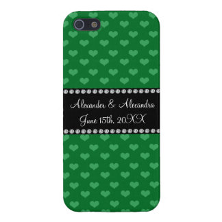 Wedding favors green hearts cover for iPhone 5/5S