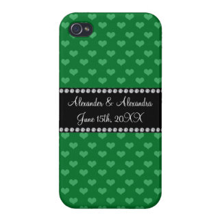 Wedding favors green hearts iPhone 4 covers