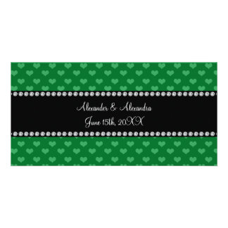 Wedding favors green hearts customized photo card