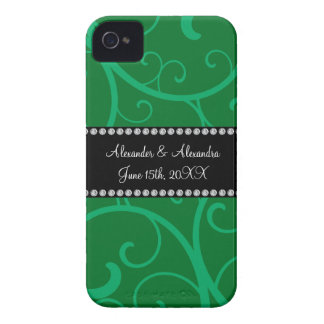 Wedding favors green swirls Case-Mate iPhone 4 cases