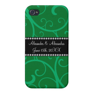 Wedding favors green swirls cover for iPhone 4
