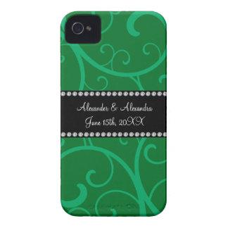 Wedding favors green swirls iPhone 4 covers