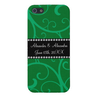 Wedding favors green swirls case for iPhone 5