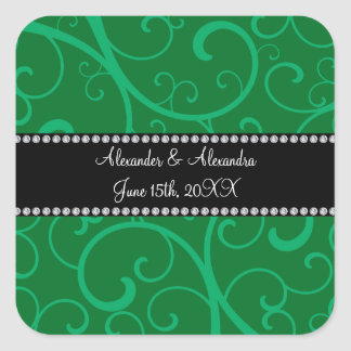 Wedding favors green swirls square sticker