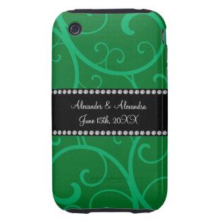 Wedding favors green swirls tough iPhone 3 cases