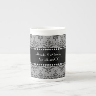 Wedding favors Grey damask Bone China Mugs