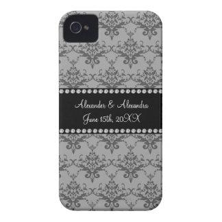 Wedding favors Grey damask Case-Mate iPhone 4 Case