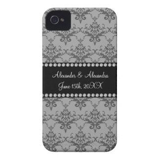 Wedding favors Grey damask iPhone 4 Case