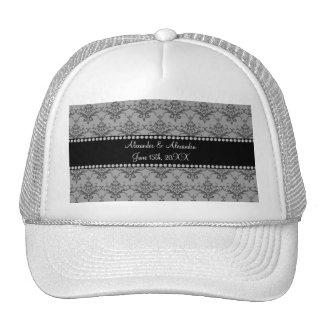 Wedding favors Grey damask Mesh Hat
