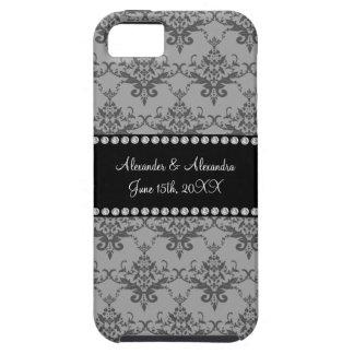 Wedding favors Grey damask iPhone 5 Case