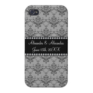 Wedding favors Grey damask Cover For iPhone 4