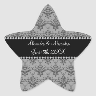 Wedding favors Grey damask Star Stickers