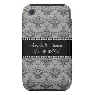 Wedding favors Grey damask Tough iPhone 3 Covers