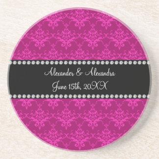 Wedding favors Magenta pink damask Beverage Coaster