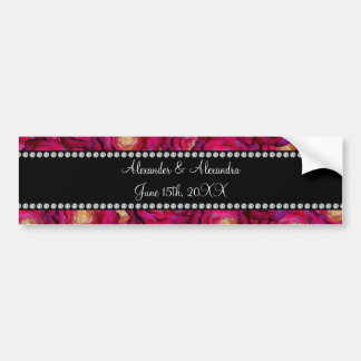 Wedding favors Maroon pink roses Bumper Stickers
