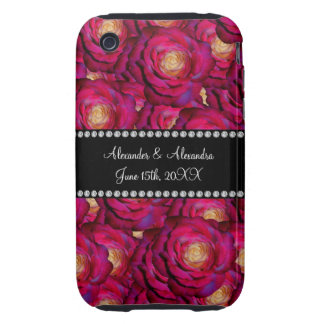 Wedding favors Maroon pink roses Tough iPhone 3 Case