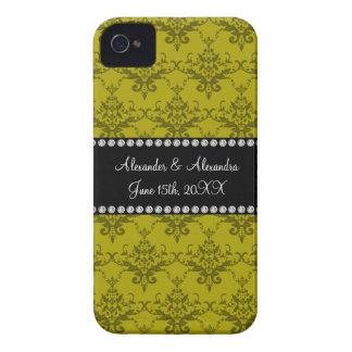 Wedding favors Mustard yellow damask iPhone 4 Case