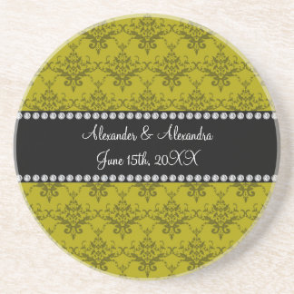 Wedding favors Mustard yellow damask Coaster