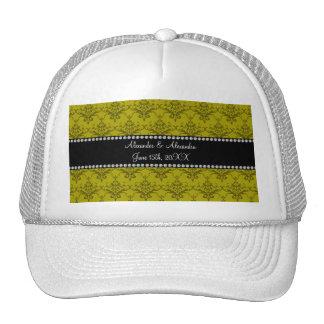 Wedding favors Mustard yellow damask Mesh Hats