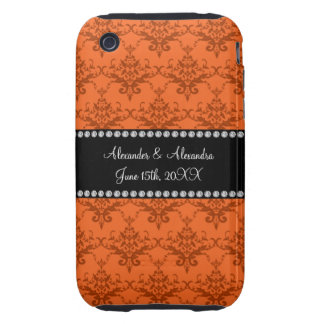 Wedding favors Orange damask Tough iPhone 3 Cover