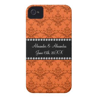 Wedding favors Orange damask iPhone 4 Case-Mate Case
