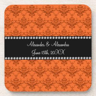 Wedding favors Orange damask Beverage Coasters