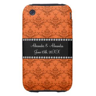 Wedding favors Orange damask iPhone 3 Tough Cases