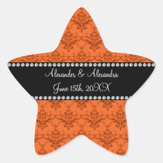 Wedding favors Orange damask Star Sticker
