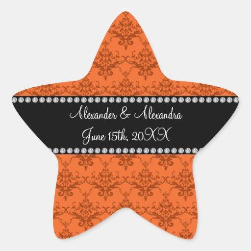 Wedding favors Orange damask Sticker
