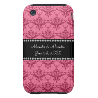 Wedding favors Pink damask iPhone 3 Tough Cases