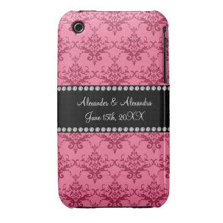 Wedding favors Pink damask iPhone 3 Case