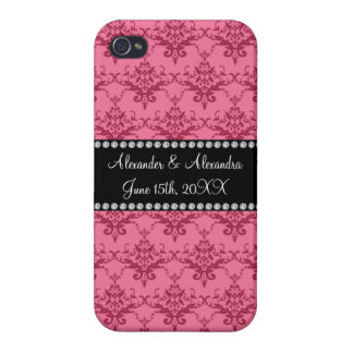 Wedding favors Pink damask iPhone 4/4S Cases
