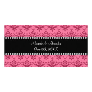 Wedding favors Pink damask Photo Card Template