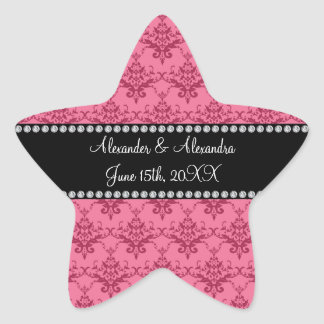 Wedding favors Pink damask Star Sticker