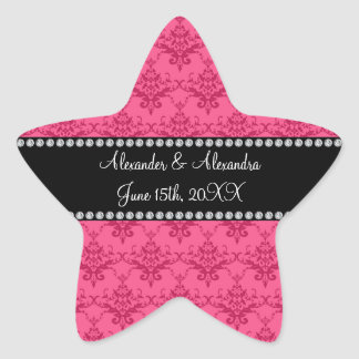 Wedding favors Pink damask Star Sticker