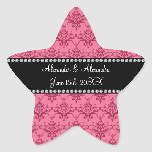 Wedding favors Pink damask Star Stickers