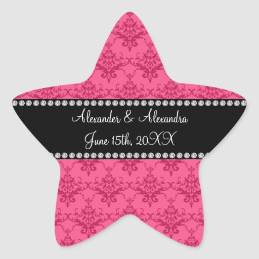 Wedding favors Pink damask Stickers