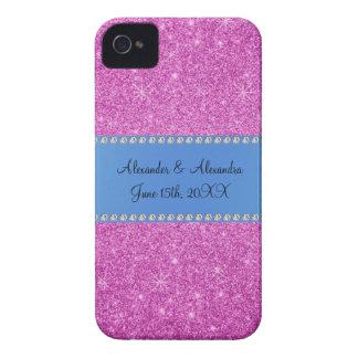 Wedding favors pink glitter blue stripe Case-Mate iPhone 4 cases