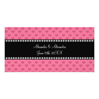 Wedding favors pink hearts customized photo card