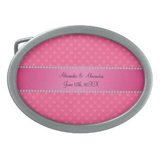 Wedding favors pink polka dots oval belt buckle