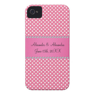 Wedding favors pink polka dots iPhone 4 covers