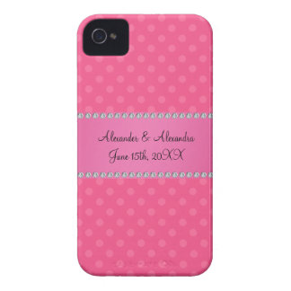 Wedding favors pink polka dots Case-Mate iPhone 4 cases