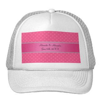 Wedding favors pink polka dots mesh hats
