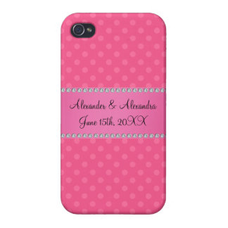 Wedding favors pink polka dots iPhone 4 cover