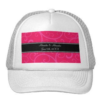 Wedding favors pink swirls mesh hats